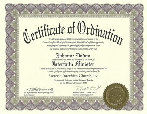Certificate of Ordination - Interfaith Minister